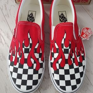VANS checkerboard red paint slip on skate shoes